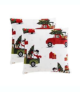 Cojines decorativos Holiday Dogs and Cars, 2 piezas