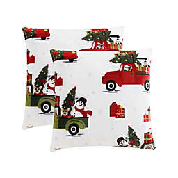 Holiday Dogs and Cars Plush Square Throw Pillows (Set of 2)