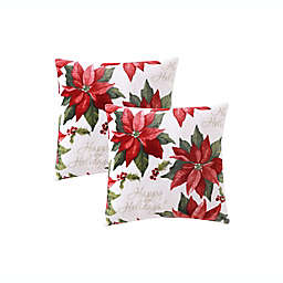 """Happy Holidays"" Poinsettia Plush Square Throw Pillows in Red (Set of 2)"