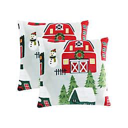 Little House Farm Plush Square Throw Pillows (Set of 2)
