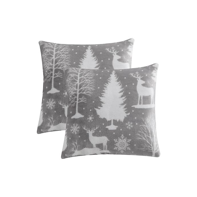 Alternate image 1 for Reindeer Scene Plush Square Throw Pillows in Grey (Set of 2)