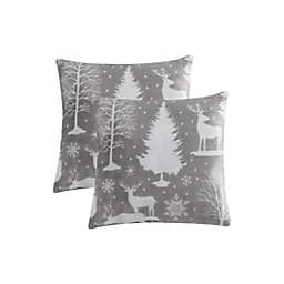 Reindeer Scene Plush Square Throw Pillows in Grey (Set of 2)