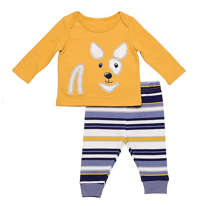 Alternate image 1 for Baby Starters® 2-Piece Stripe Dog Top and Pant Set in Mustard