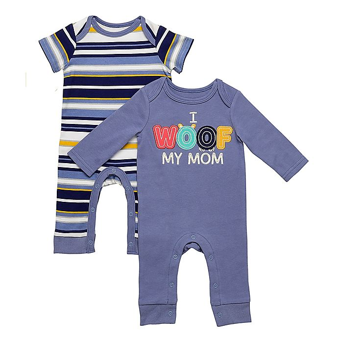 Alternate image 1 for Baby Starters® 2-Pack Woof Stripe Coveralls