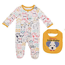 Baby Starters® 2-Piece Dogs Coverall and Buddy Bib Set in Egret