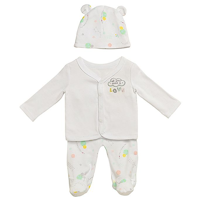 Alternate image 1 for Baby Starters® 3-Piece My Family, My World Cardigan, Footed Pant, and Hat Set