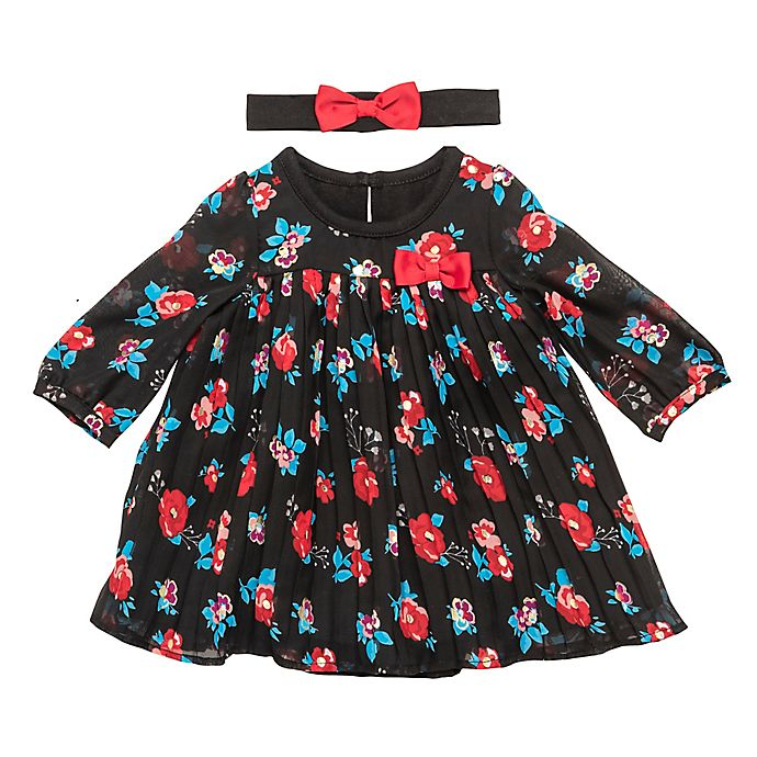 Alternate image 1 for Baby Starters® 2-Piece Floral Dress and Headband Set in Black