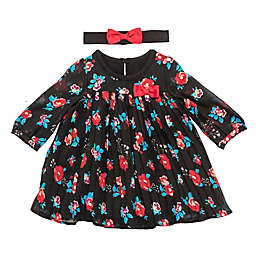 Baby Starters® 2-Piece Floral Dress and Headband Set in Black