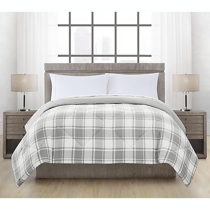 Alternate image 1 for Brushed Microfiber Hudson Plaid Comforter in Grey