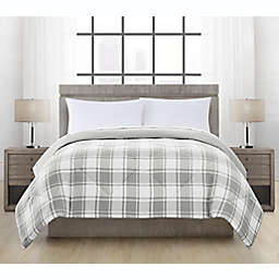 Brushed Microfiber Hudson Plaid Twin Comforter in Grey