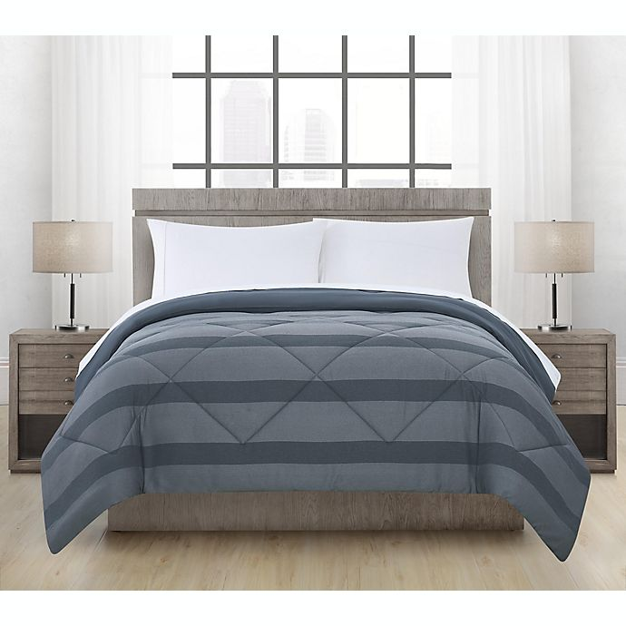 Alternate image 1 for Brushed Microfiber Maxen Stripe Comforter in Midnight
