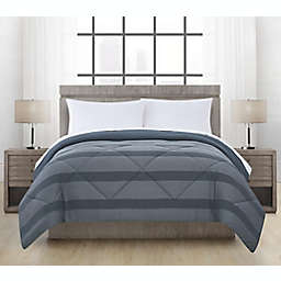 Brushed Microfiber Maxen Stripe Twin Comforter  in Midnight