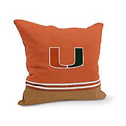 University of Miami Varsity Patch Square Throw Pillow