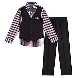 Nautica® 4-Piece Vest, Plaid Shirt, Bowtie and Pant Set in Black/Grey