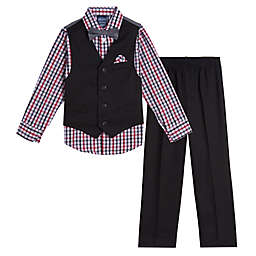 Nautica® Size 3-6M 4-Piece Vest, Plaid Shirt, Bowtie and Pant Set in Black/Grey