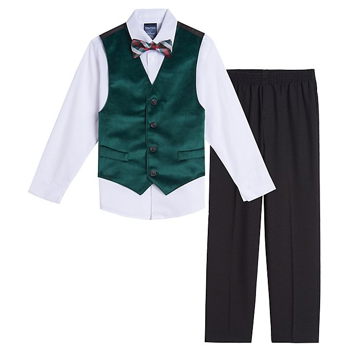 Alternate image 1 for Nautica® Size 3-6M 4-Piece Velvet Vest, Shirt, Pant, and Bow Tie Set in Green