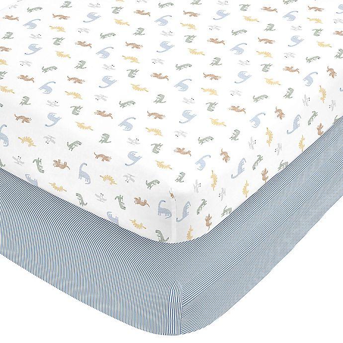 Alternate image 1 for Carter's Dinosaur Cotton 2pk Ftd Crib Sheets