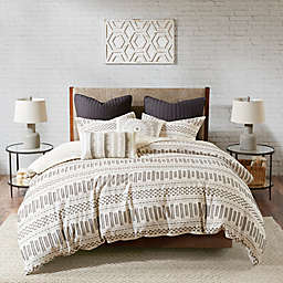 INK+IVY Rhea 3-Piece Duvet Cover Set in Ivory/Charcoal