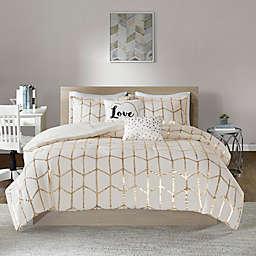 Intelligent Design Raina 4-Piece Twin/Twin XL Comforter Set in Ivory/Gold