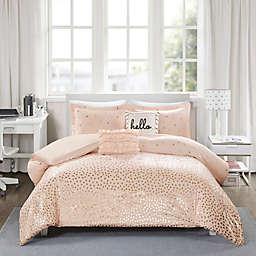 Intelligent Design Zoey 4-Piece Twin/Twin XL Duvet Cover Set in Blush/Rose Gold
