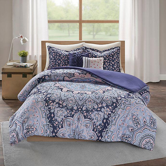 Alternate image 1 for Intelligent Design Odette 4-Piece Duvet Cover Set in Blue