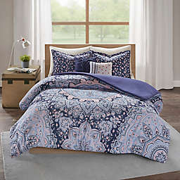 Intelligent Design Odette 4-Piece Reversible Twin/Twin XL Duvet Cover Set in Blue