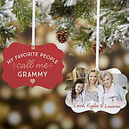 """""""My Favorite People Call Me"""" Personalized Aluminum Grandparents Christmas Ornament"""
