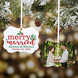 """""""Merry & Married"""" 2-Sided Personalized Photo Aluminum Christmas Ornament"""