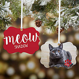 """""""Meow"""" Personalized Photo 2-Sided Aluminum Christmas Ornament in Red"""