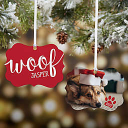"""""""Woof"""" Personalized Photo 2-Sided Aluminum Christmas Ornament in Red"""