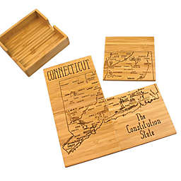 Totally Bamboo Connecticut Puzzle 5-Piece Coaster Set