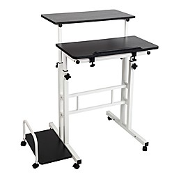 Mind Reader Sitting/Standing Desk with Wheels in Black/White