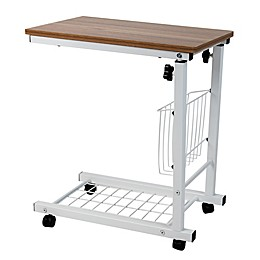 Mind Reader Adjustable Height Wood and Steel Laptop Desk in White