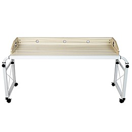 Mind Reader Rolling Adjustable Height Wood and Steel Desk in White