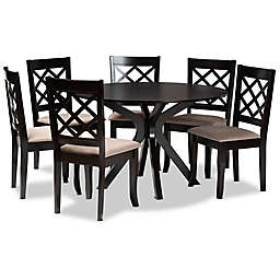 Baxton Studio® Verity 7-Piece Dining Set in Sand/Brown