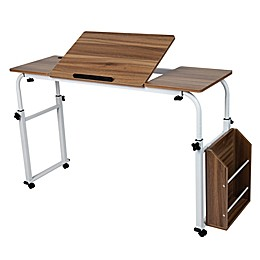 Mind Reader Over Bed Table Desk in White/Wood Finish