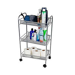 Mind Reader 3-Tier Mesh Wire Rolling Utility Cart in Grey