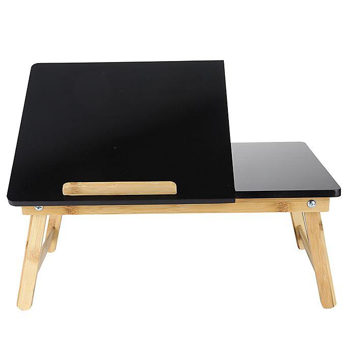 Alternate image 1 for Mind Reader Adjustable Bamboo Laptop Bed Tray in Black