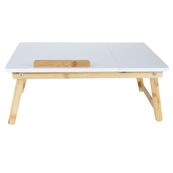 Alternate image 1 for Mind Reader Adjustable Bamboo Laptop Bed Tray in White