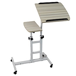 Mind Reader Variable Height Rolling Standing Desk in White/Wood Finish