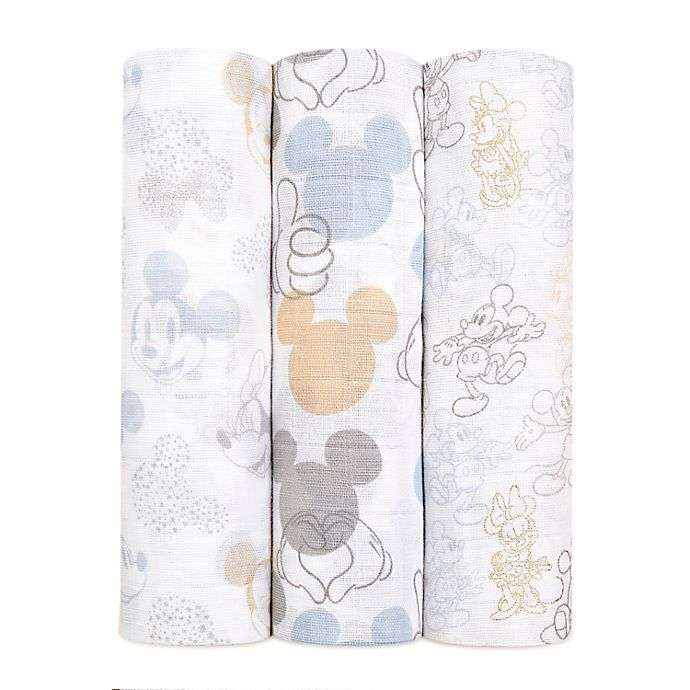 Alternate image 1 for aden + anais™ Disney® 3-Pack Mickey and Minnie Swaddles in Grey