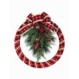 Buffalo Check 18-Inch Homespun Indoor/Outdoor Wreath in Green/Red