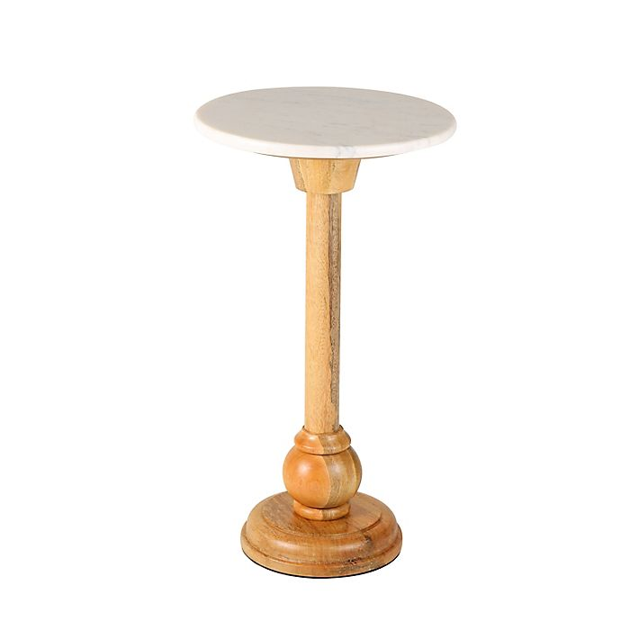 Alternate image 1 for Bee & Willow™ 12-Inch Round Side Table in Natural/White Marble