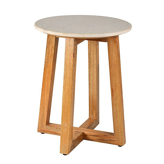 Alternate image 1 for Bee & Willow™ Mango Wood Side Table in Natural/White Marble