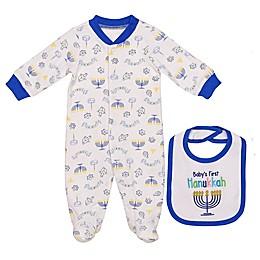 Baby Starters® 2-Piece Hanukkah Footie and Bib Set in White