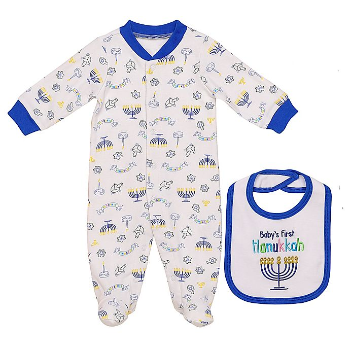 Alternate image 1 for Baby Starters® 2-Piece Hanukkah Footie and Bib Set in White