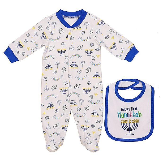 Alternate image 1 for Baby Starters® 2-Piece Hanukkah Footie and Bib Set in White