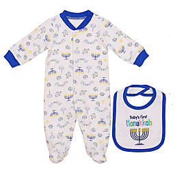 Baby Starters® 2-Piece Hanukkah Footie and Bib Set in White