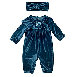 Baby Starters® 2-Piece Velour Coverall and Headband Set in Blue