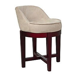 Elegant Home Fashions Lucy Swivel Vanity Stool in Cherry/Beige